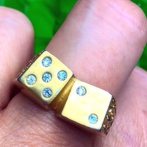 Lucky #7 Gold plated Dice Ring